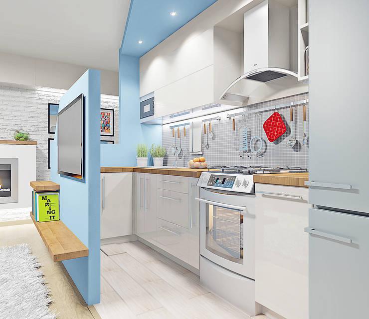 """<q class=""""-first"""">ГЕОМЕТРИЯ</q> дизайн кухни-гостиной: Кухни в . Автор – Студия дизайна интерьеров 'Взгляд'"""