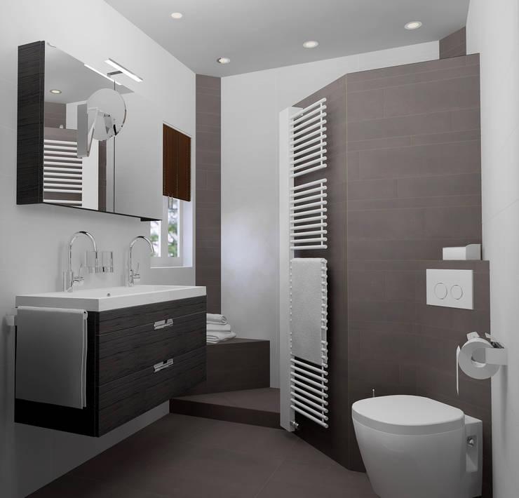Kleine badkamer met inloopdouche: moderne Badkamer door Sani-bouw