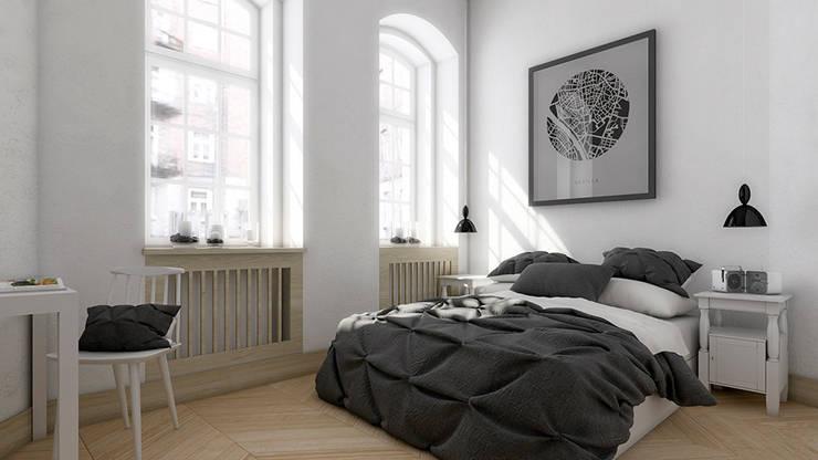 Mieszkanie, Katowice, Wita Stwosza: styl , w kategorii Sypialnia zaprojektowany przez musk collective design,Minimalistyczny