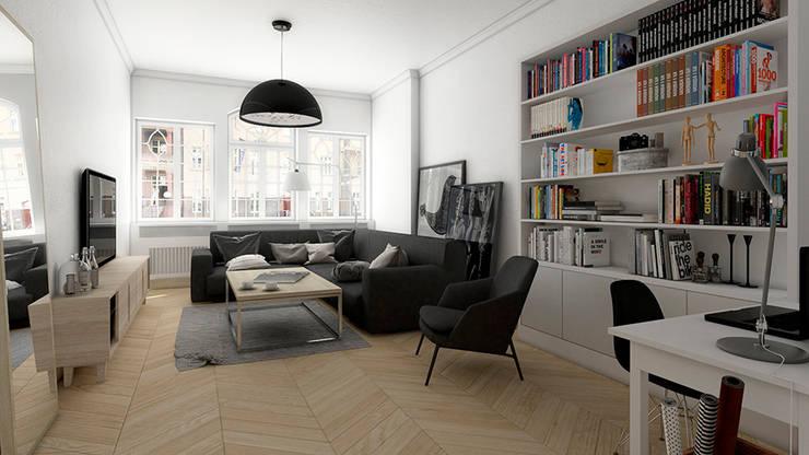 Mieszkanie, Katowice, Wita Stwosza: styl , w kategorii Salon zaprojektowany przez musk collective design,Minimalistyczny