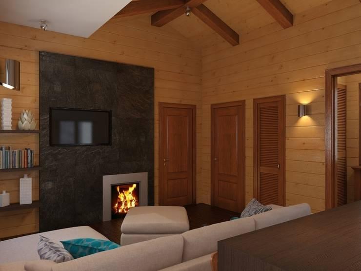 Гостиная, вид на камин: Гостиная в . Автор – ArtBuro365
