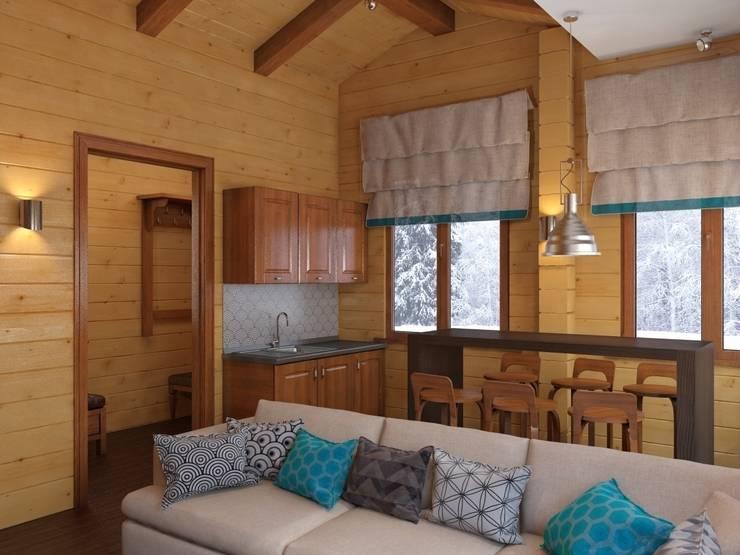 Гостиная в бане, вид на кухонную зону: Кухни в . Автор – ArtBuro365,