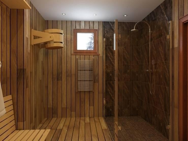 помывочная в бане: Ванные комнаты в . Автор – ArtBuro365,