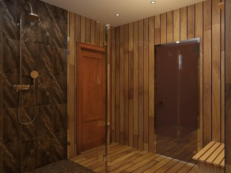 помывочная в бане, вид на душевую: Ванные комнаты в . Автор – ArtBuro365