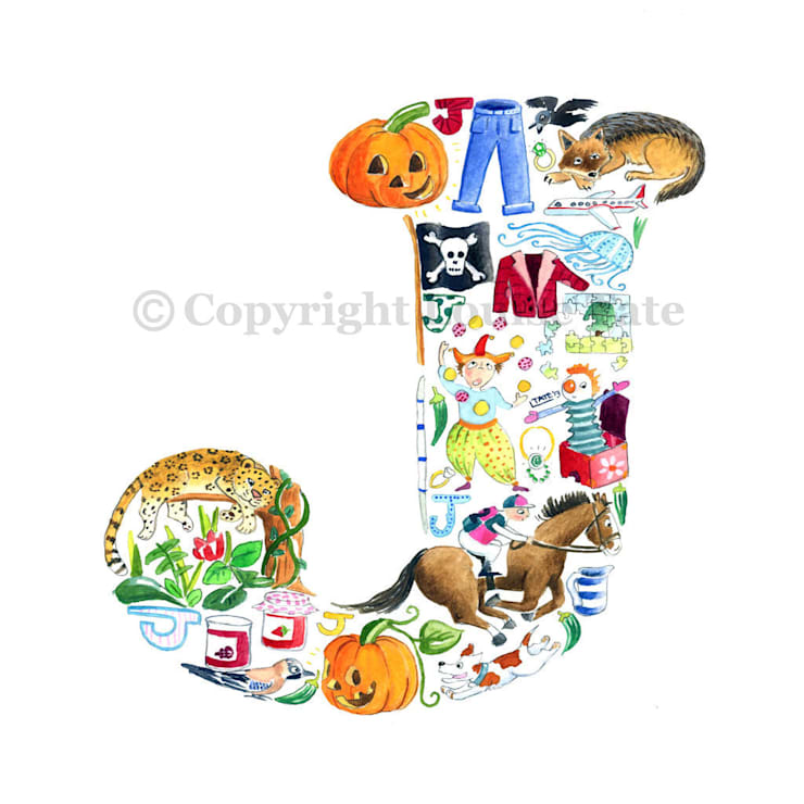 Louise Tate Alphabet Art Letter J: modern  by Anthea's Home Store, Modern