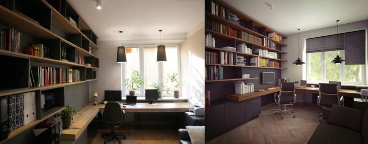 REALIZACJE VS. WIZUALIZACJA PROJEKTU: styl , w kategorii Domowe biuro i gabinet zaprojektowany przez AvoCADo