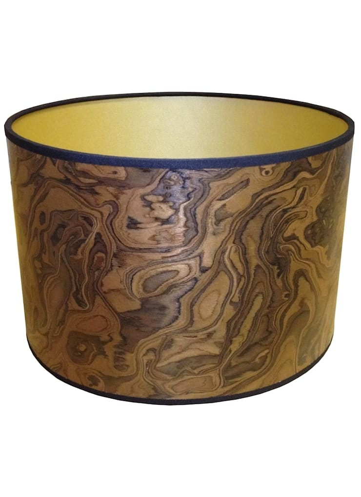 Dark Burl Drum Lampshade: classic  by Anthea's Home Store, Classic