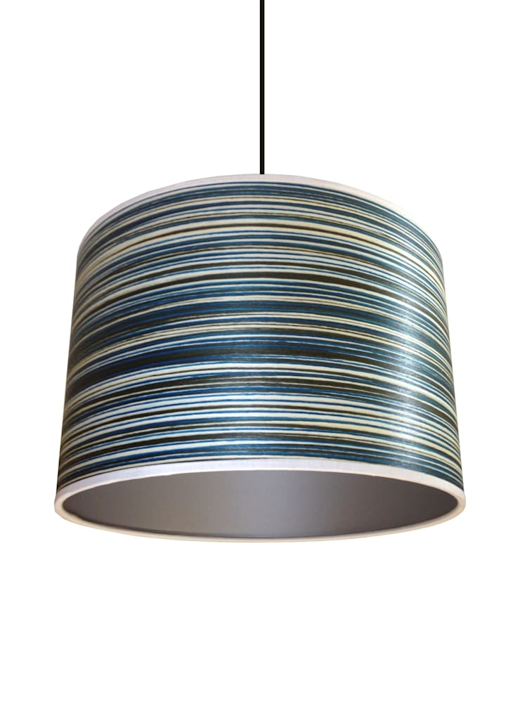 Blue Stripey Wood veneer lampshade: classic  by Anthea's Home Store, Classic