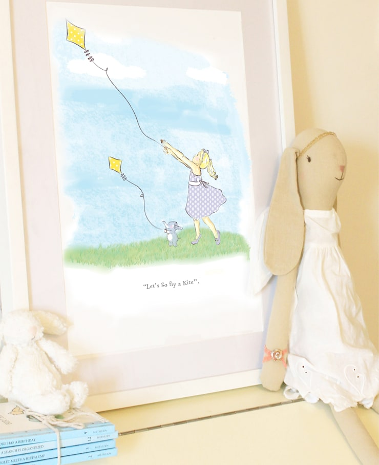 """""""Let's go fly a kite"""" art print for girls room: classic  by Buffer , Classic"""