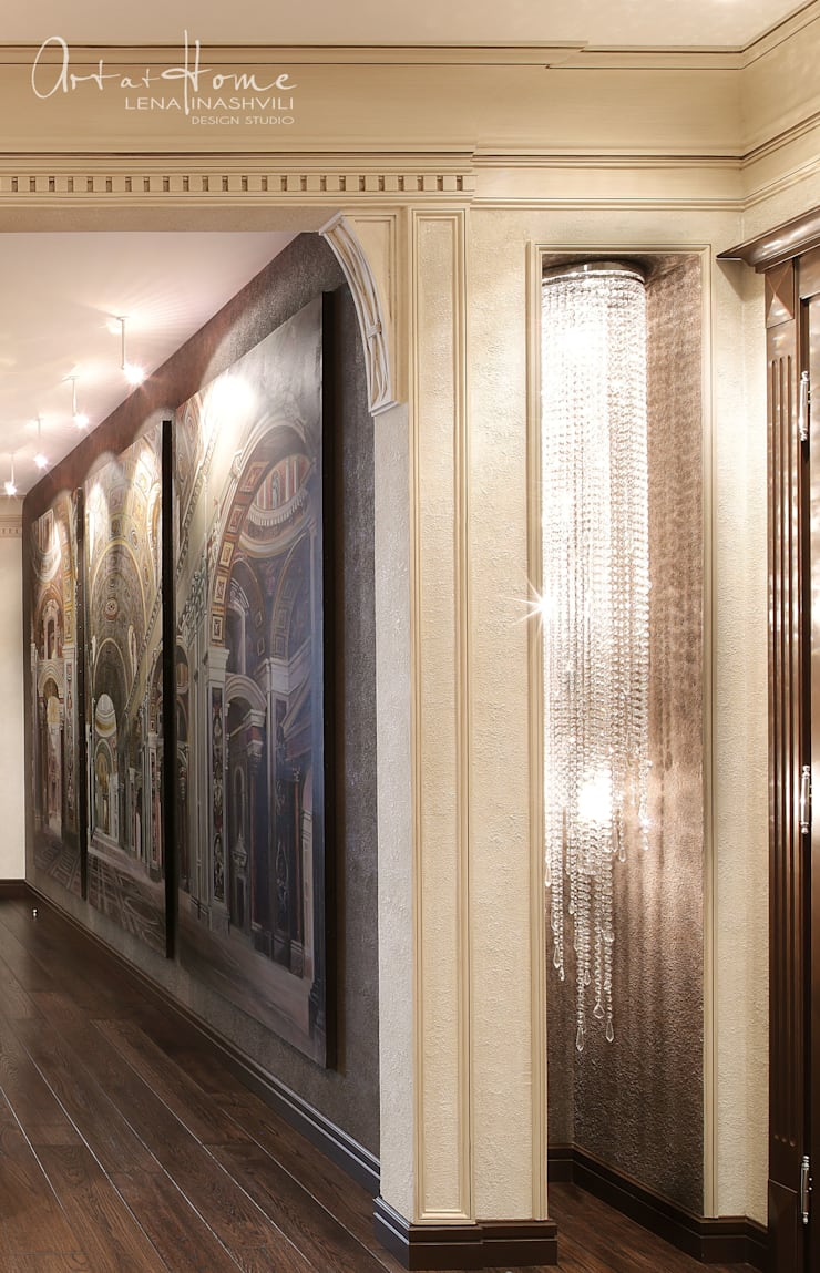 """<q class=""""-first"""">IMPERIAL</q>  Квартира в Москве : Прихожая, коридор и лестницы в . Автор –   Лена Инашвили  Art at Home"""