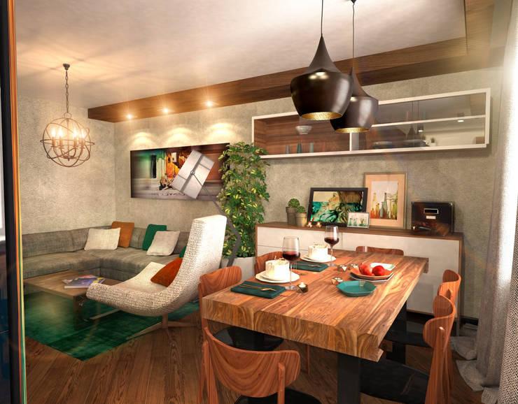 Гостиная 3: Гостиная в . Автор – Inna Katyrina & 'A-LITTLE-GREEN' studio interiors