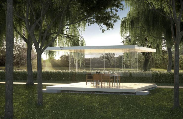Stützenfreier Gartenpavillon mit einem 360° Panorama:  Wintergarten von Glas Marte