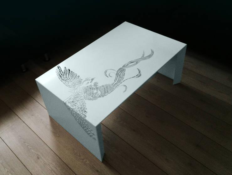 Paradise Table • Salontafel •  wit - • coffee table :  Woonkamer door ontwerpstudio Roi de Bruijn