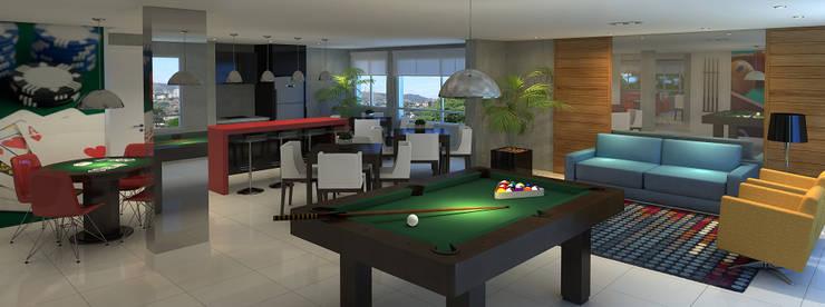 Salão de festas   Espaço gourmet   Salão de jogos: Salas multimídia  por Monte Arquitetura