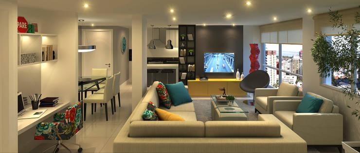 Apartamento Living Estendido: Salas de estar  por Monte Arquitetura