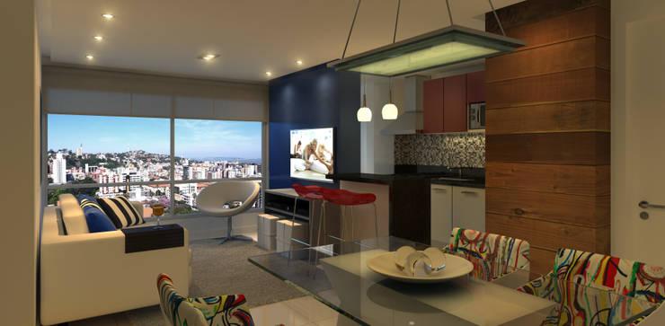 Living  Apartamento: Salas de jantar  por Monte Arquitetura