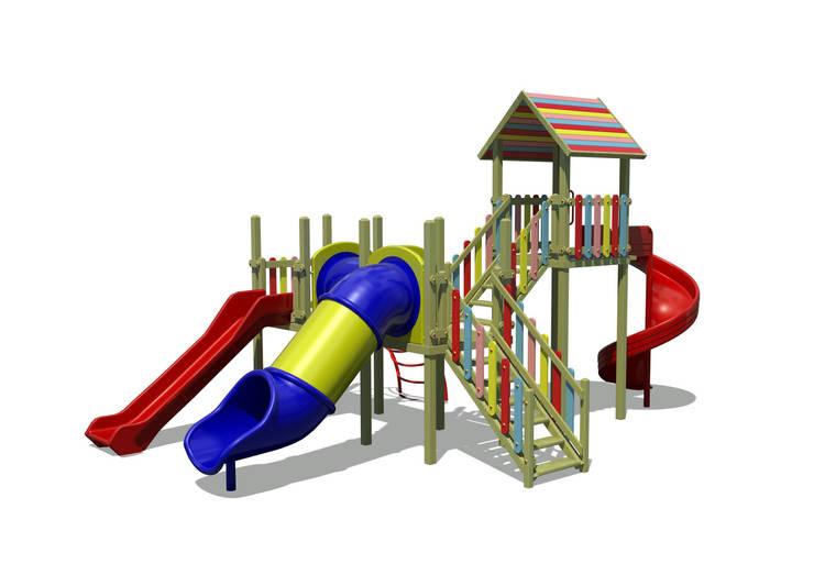 Özçınar Tasarım – Ahşap oyun Parkı:  tarz Bahçe