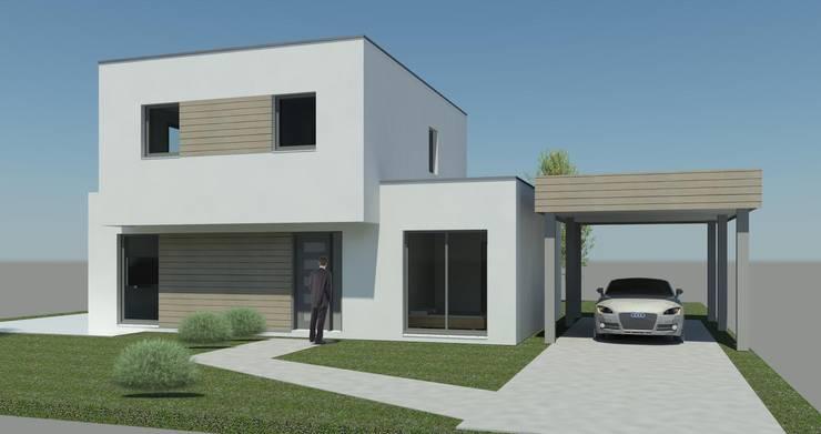 CUBE 115 - perspective: Maisons de style de style Moderne par HCI constructions