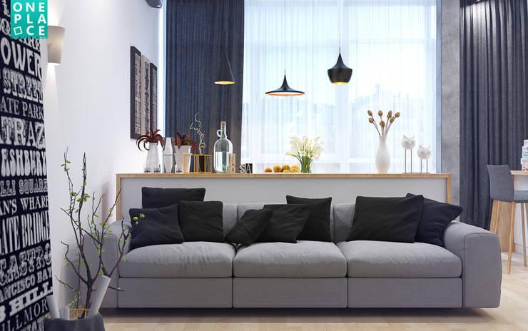 """3-к квартира """"Немецкая деревня"""": Гостиная в . Автор – OnePlace studio interior design,"""