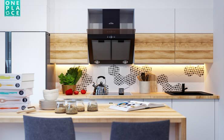 3-к квартира <q>Немецкая деревня</q>: Кухни в . Автор – OnePlace studio interior design,