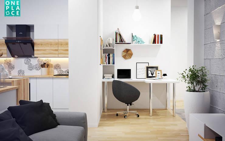 3-к квартира <q>Немецкая деревня</q>: Гостиная в . Автор – OnePlace studio interior design,