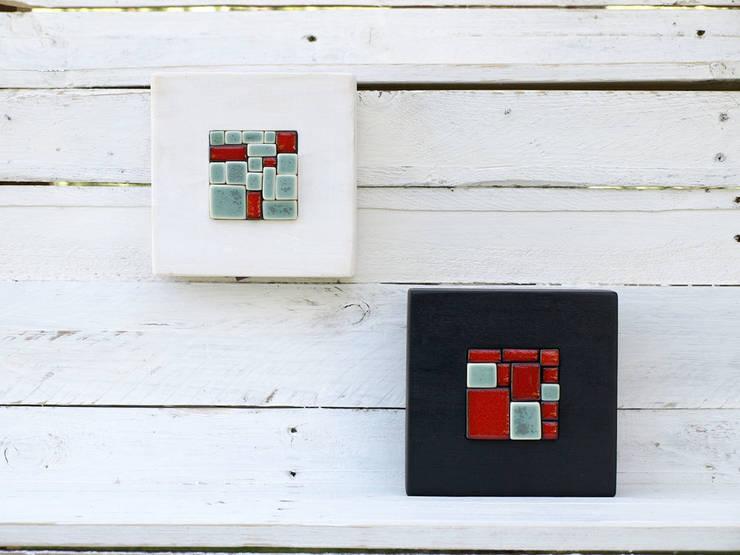 Mini mural mosaico turquesa y rojo.: Arte de estilo  de Lápiz de porcelana