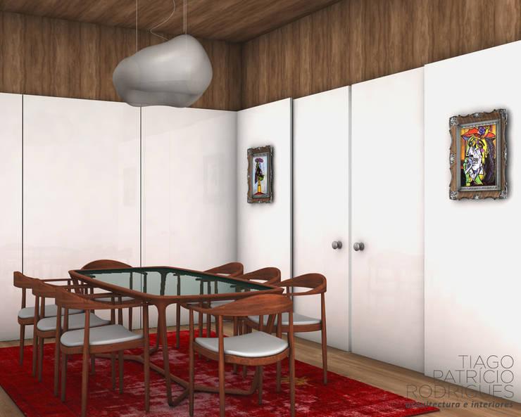 Apartamento Lumiar_Reabilitação Arquitectura + Design Interiores: Salas de jantar  por Tiago Patricio Rodrigues, Arquitectura e Interiores