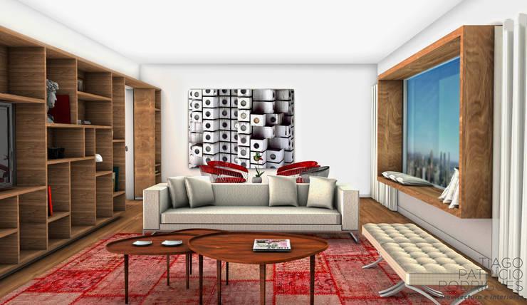 Apartamento Lumiar_Reabilitação Arquitectura + Design Interiores: Salas de estar modernas por Tiago Patricio Rodrigues, Arquitectura e Interiores