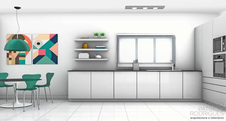 Apartamento Lumiar_Reabilitação Arquitectura + Design Interiores: Cozinhas  por Tiago Patricio Rodrigues, Arquitectura e Interiores