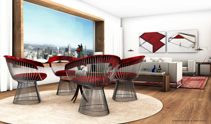 Apartamento Lumiar_Reabilitação Arquitectura + Design Interiores: Salas de estar  por Tiago Patricio Rodrigues, Arquitectura e Interiores