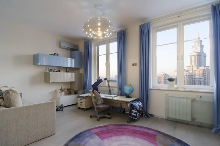 Квартира на ул. Авиаконструктора Микояна в Москве: Детские комнаты в . Автор – Архитектурное бюро 'Sky-lines', Минимализм