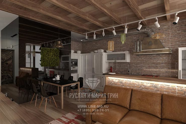 Дизайн кухни столовой в стиле лофт: Кухни в . Автор – Студия дизайна интерьера Руслана и Марии Грин
