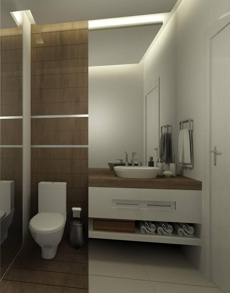 Banheiro Social: Banheiros  por Eliegi Ambrosi Arquitetura e Design de Interiores,Moderno