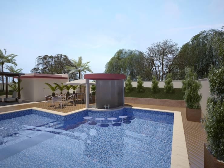 Área de Lazer para um Condomínio Residencial: Piscinas  por Eliegi Ambrosi Arquitetura e Design de Interiores