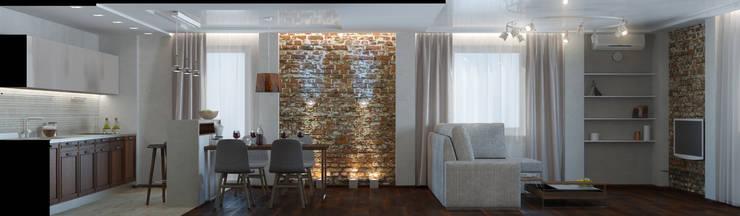 Двухкомнатная квартира для холостяка: Гостиная в . Автор – Center of interior design