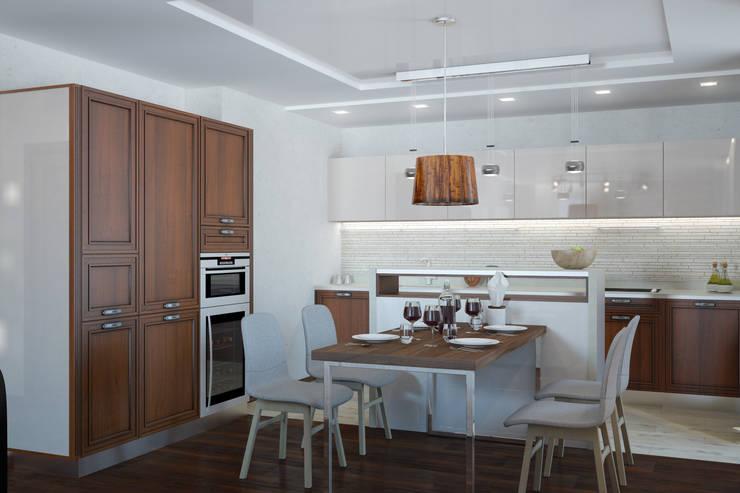 Двухкомнатная квартира для холостяка: Кухни в . Автор – Center of interior design