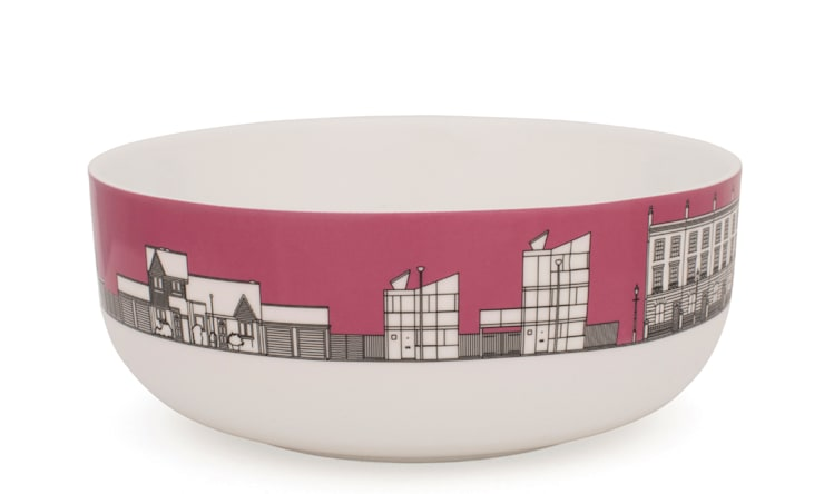 Eclectic Avenue cereal bowl - dark pink: modern  by People Will Always Need Plates, Modern