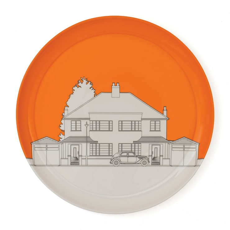 Eclectic Avenue dinner plate - VW orange: modern  by People Will Always Need Plates, Modern