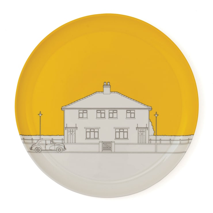 Eclectic Avenue dinner plate - yolk yellow: modern  by People Will Always Need Plates, Modern