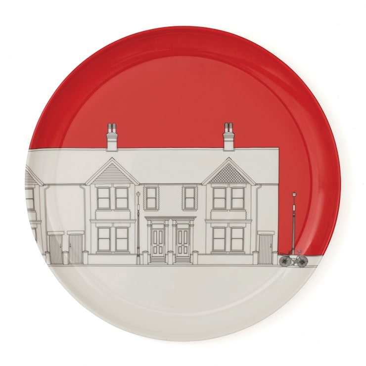 Eclectic Avenue dinner plate - pillar box red: modern  by People Will Always Need Plates, Modern