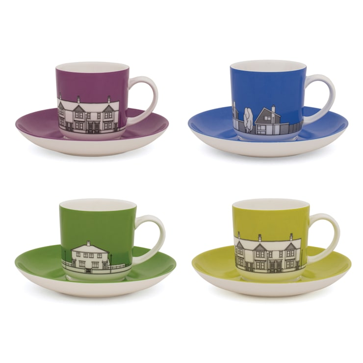 Eclectic Avenue espresso cups - set/4: modern  by People Will Always Need Plates, Modern