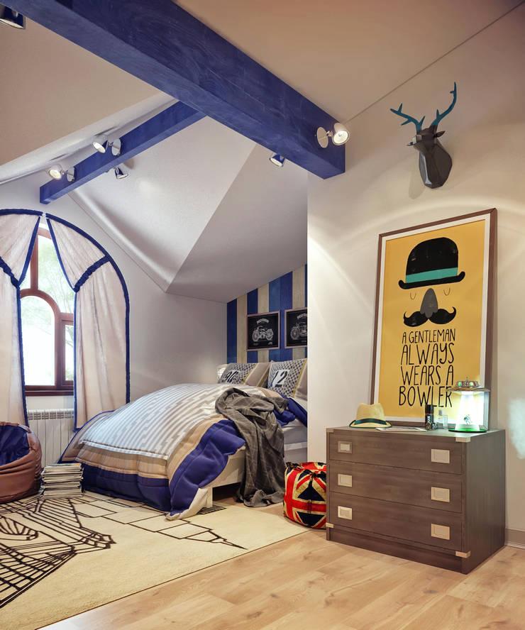 Детская комната на мансардном этаже: Детские комнаты в . Автор – Sweet Home Design, Минимализм