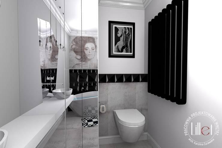Łazienka z szrością: styl , w kategorii Łazienka zaprojektowany przez ATELIER LILLET Karolina Lewandowska