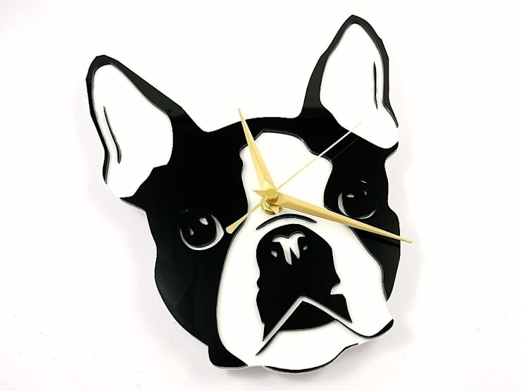 Boston Terrier Face Clock: modern  by BooBoo and Ted, Modern