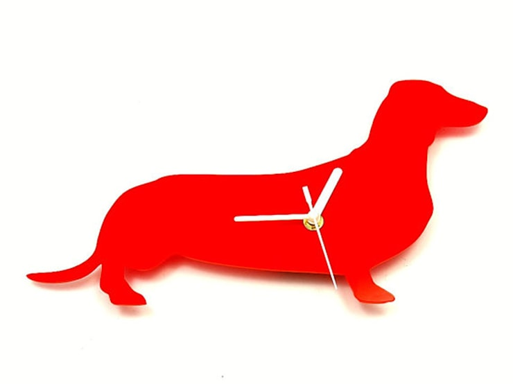 Dachshund Sausage Dog Silhouette Clock: modern  by BooBoo and Ted, Modern