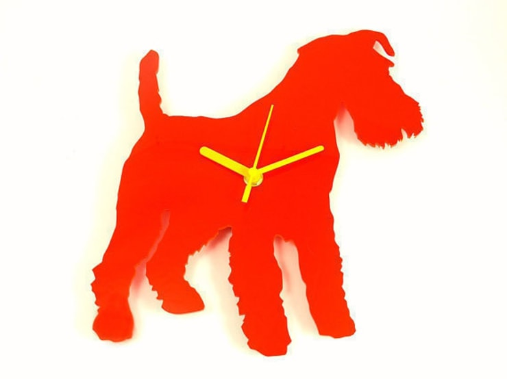 Wire Haired Fox Terrier Dog Silhouette Clock : modern  by BooBoo and Ted, Modern