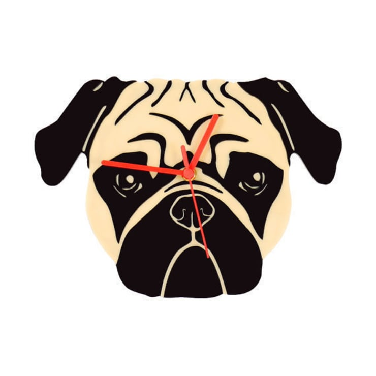Pug Face Clock: modern  by BooBoo and Ted, Modern