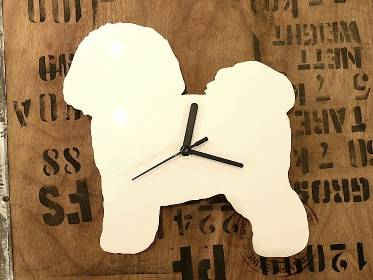 Bichon Frise  Dog Silhouette Clock : modern  by BooBoo and Ted, Modern