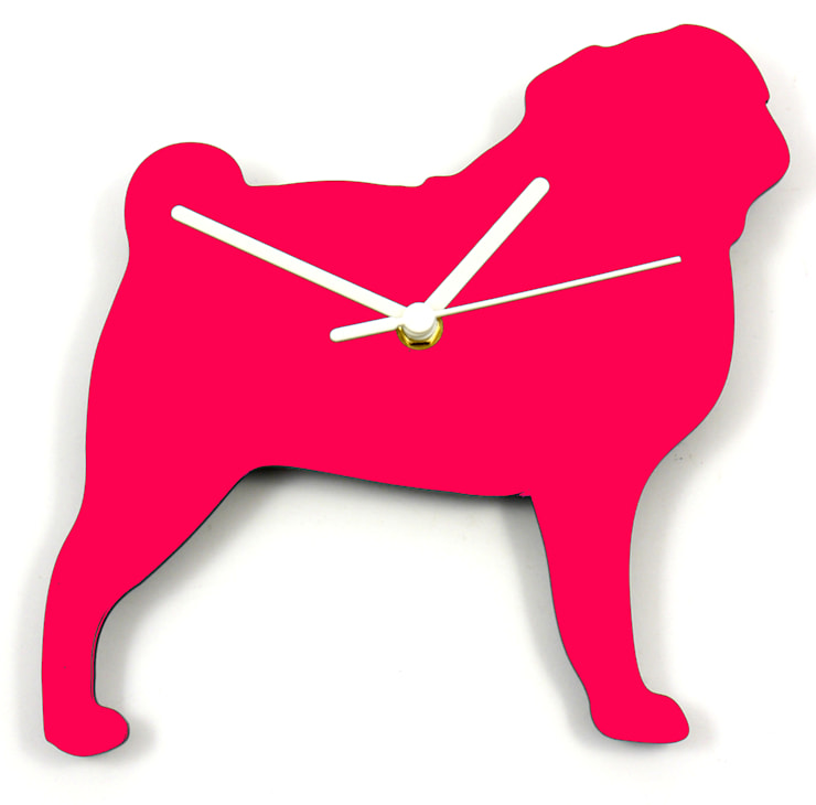 Pug Silhouette Clock: modern  by BooBoo and Ted, Modern