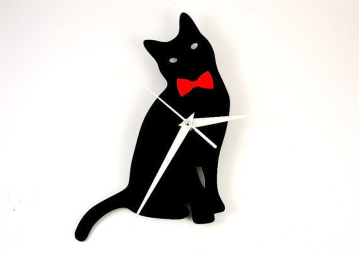 Cat with Bow Tie Clock:  Household by BooBoo and Ted